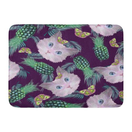 GODPOK Botany Abstract Colorful Pretty Kitten Heads Pineapples Palm Leaves and Butterflies Animal Butterfly Rug Doormat Bath Mat 23.6x15.7 inch
