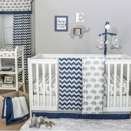 Eli Navy Chevron Grey Elephant Baby Crib Bedding 20 Piece Nursery Essentials Set