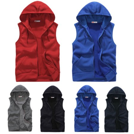 Hoody Zippered Sweatshirt (Men Hoodie Sweatshirts Casual Zipper Pocket Sleeveless Hoodies Couple Sports Hooded Vest )