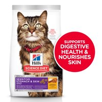 Hill's Science Diet Adult Sensitive Stomach & Skin Chicken & Rice Recipe Dry Cat Food, 15.5 lb bag