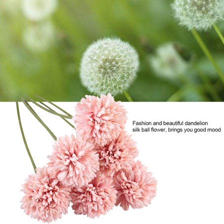 YLSHRF 6Pcs Artificial Silk Flower Beauty Fake Dandelion Ball for Home Room Wedding Decor , Artificial Silk Flower, Fake Silk Flower ()