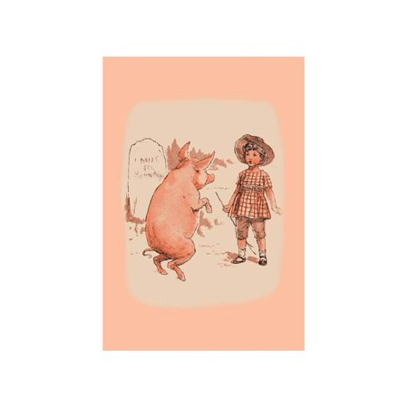 """""""Pig On Hind Legs And Little Girl"""" Print (Canvas 20x30)"""