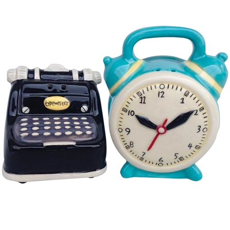 Salt Glaze Crock - Typewriter And Clock Salt & Pepper Shakers - Handpainted Glazed Stoneware