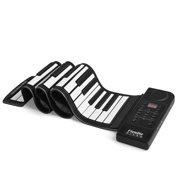 Portable 61 Keys Roll Up Piano Keyboard, Digital Electric Keyboards Support USB MIDI Output with Soft Silicone Flexible Foldable Key Sheet, Built-in Speaker for Musical Instrument Adult Kid Play
