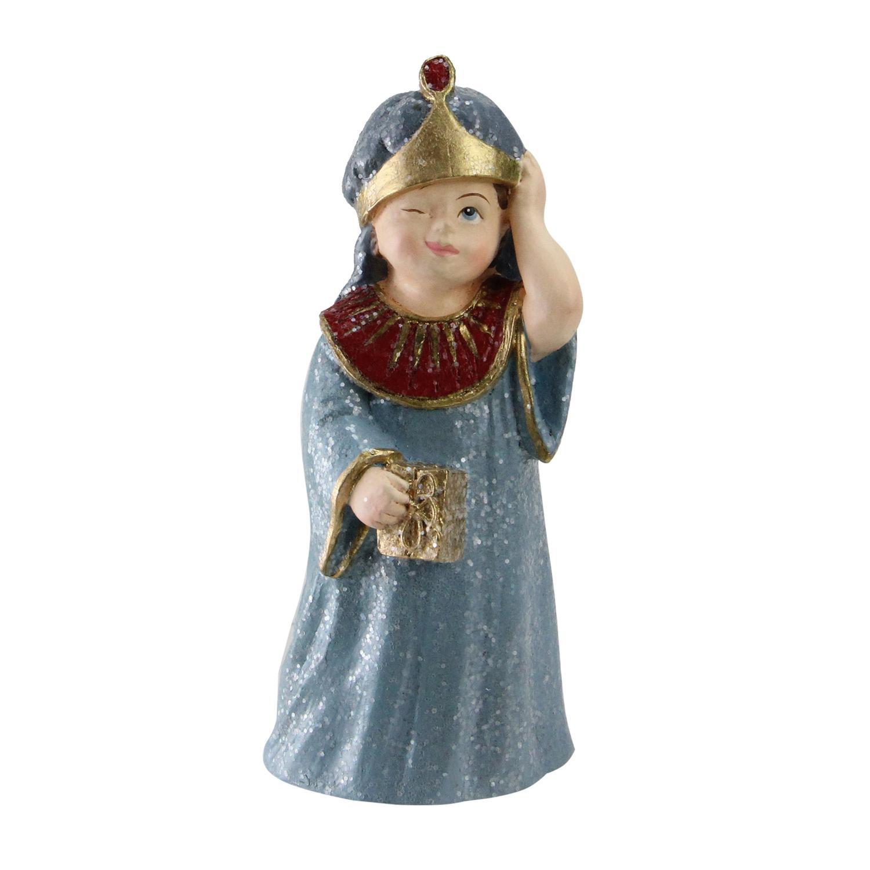 "5.5"" Glittered Wiseman Child with Present Christmas Nativity Decoration"