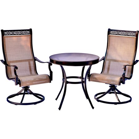 Image of Hanover Monaco 3-Piece Outdoor Patio Bistro Set Garden Backyard Patio Furniture Conversation Bistro Set With Glass Top Dining Table and Swivel Sling Chairs