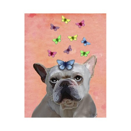 White French Bulldog and Butterflies Print Wall Art By Fab