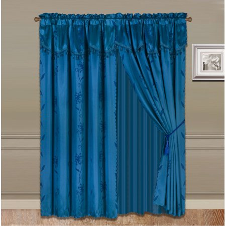 Nada Teal Turquoise Complete Window Curtain Set 2 Panels