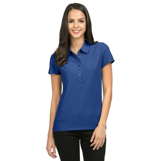 Tri-Mountain Women's Side Vents Waffle Knit Polo Shirt