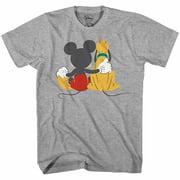 Mickey Mouse & Pluto Back Disneyland Disney World Tee Funny Humor Adult Mens Graphic T-shirt Apparel
