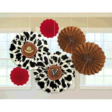 Western 'Yeehaw' Paper Fan Decorations - Western Decorations