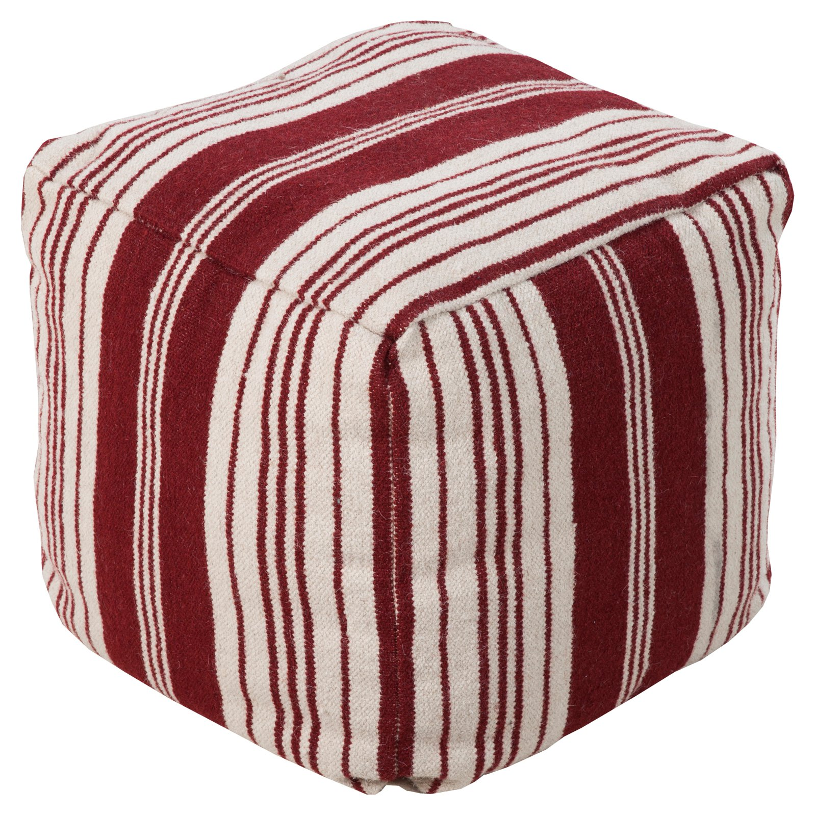 Surya 18 in. Cube Wool Pouf Carnelian   Antique White by Surya