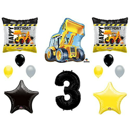 3rd BIRTHDAY CONSTRUCTION Balloons Decoration Supplies Party Boy Dump Truck Bulldozer Third - Construction Birthday Party