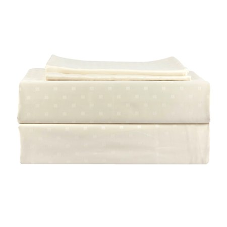 Just Linen 500 Thread Count 100% Egyptian Quality Cotton, Genuine Jacquard Damask, Solid Box Checkered, Birch Color , King Bedding 4 Piece Sheet Set with Deep Pocketed Fitted Sheet Birch 5 Piece Ceramic Fiber