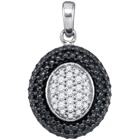 Sterling Silver Womens Round Diamond Oval Black Rhodium Frame Cluster Pendant 1/5 Cttw