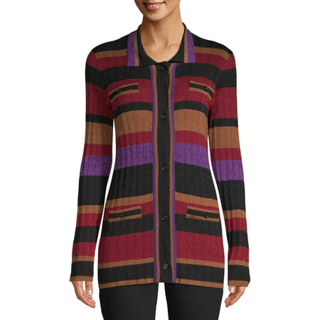 Sui by Anna Sui Women's Striped Knit Cardigan Merino Knit Long Cardigan