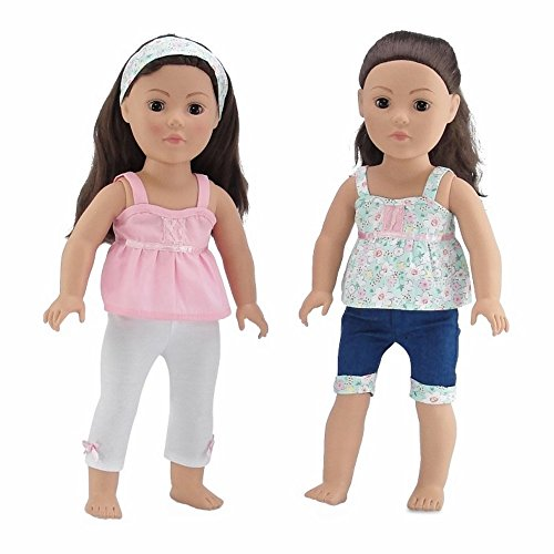 18 Inch Doll Clothes | Vintage Mix and Match Outfits, Includes 2 Tank Style Shirts, Cool Jean Shorts with Matching Floral Cuff, Creamy White Leggings and Matching Headband | Fits American Girl Dolls