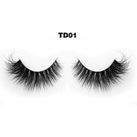 77fa27098a7 Invisible Transparent Band 3D Mink Fur Fake Eyelashes Women's Makeup False  Lashes Hand-made Mink Lash 1 Pair Pack(TD01) - Walmart.com