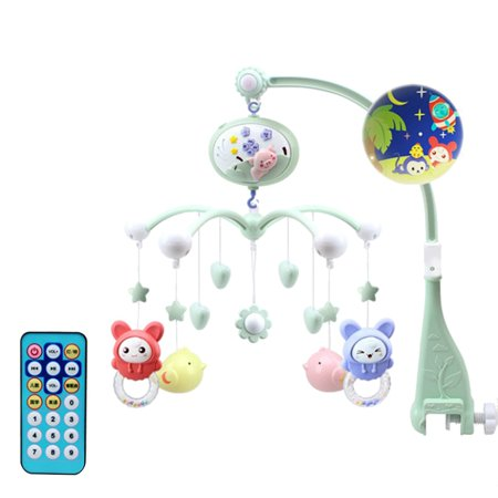 Musical Baby Crib Mobile Toy Toddler Bed Bell With Animal Rattles Projection Cartoon Early Learning Toys (Green Pig) (Dark Planet Mobile)