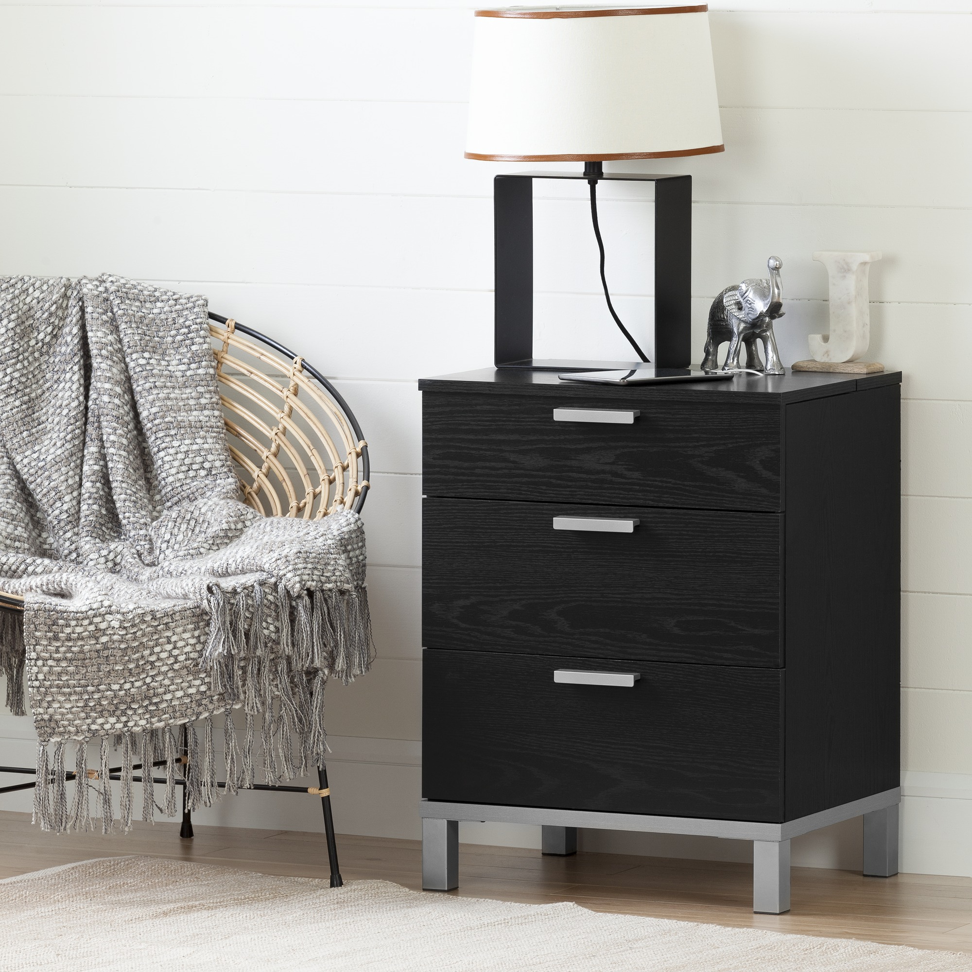 South Shore Flexible Nightstand with Charging Station and Drawers, Multiple Finishes