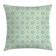 Mint Throw Pillow Cushion Cover, Retro Disc Shaped Inner Circles with Nostalgic Featured Geometric Graphic, Decorative Square Accent Pillow Case, 16 X 16 Inches, Seafoam Almond Green, by Ambesonne