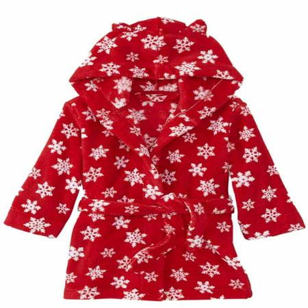 Joe Boxer Toddler Girls Plush Red Snowflake Hoodie Bathrobe Robe House Coat