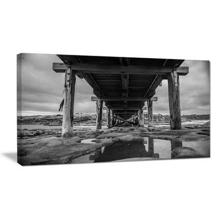 Design Art Black and White Large Wooden Bridge Sea Bridge Photographic Print on Wrapped