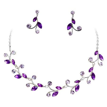 Faship Gorgeous Purple Rhinestone Crystal Floral Necklace Earrings Set - Purple/Electric-purple Black Rhinestone Jewelry Set