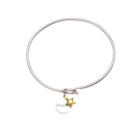 Bangle Bracelet with Engraved Believe Tag and 14k Gold Star Charm Sterling Silver