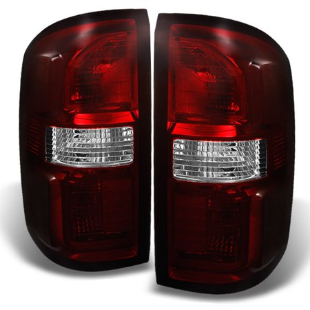 Fit 2014 2015 2016 GMC Sierra 1500|2500|3500HD Dark Red Tail Lights Replacement ()