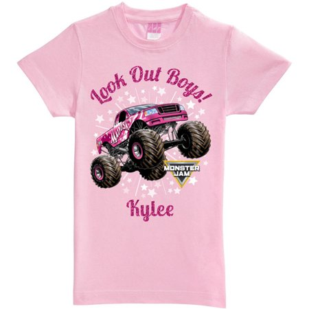 Personalized Monster Jam Look Out Boys Madusa Pink Fitted Tee, Girls Youth, Pink](Pink Monster)