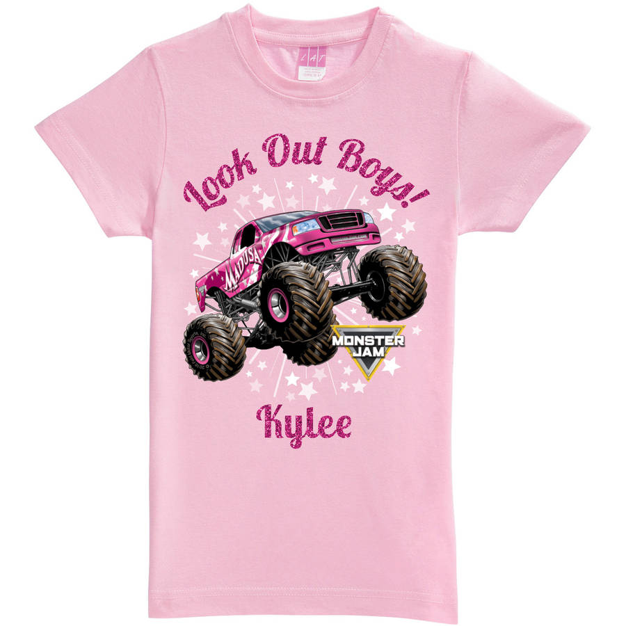 Personalized Monster Jam Look Out Boys Madusa Pink Fitted Tee, Girls Youth, Pink