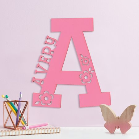 Pink Initial and Name Personalized Wood Plaque