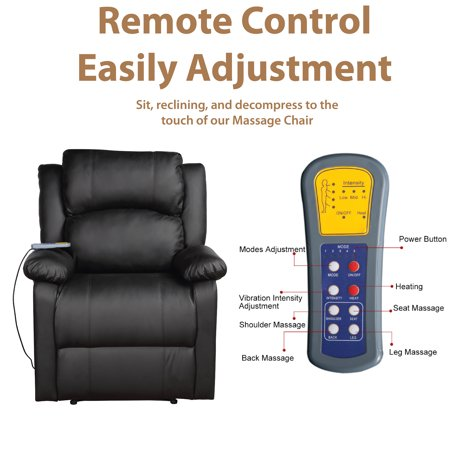 Merax Padded PU Leather Heated Massage Recliner with 8 Vibration Nodes