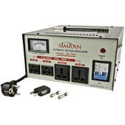 Simran AR-3000 3000-Watt Heavy Duty Voltage Regulator/Stabilizer with Built-In Step Up/Down Voltage Transformer, Grey