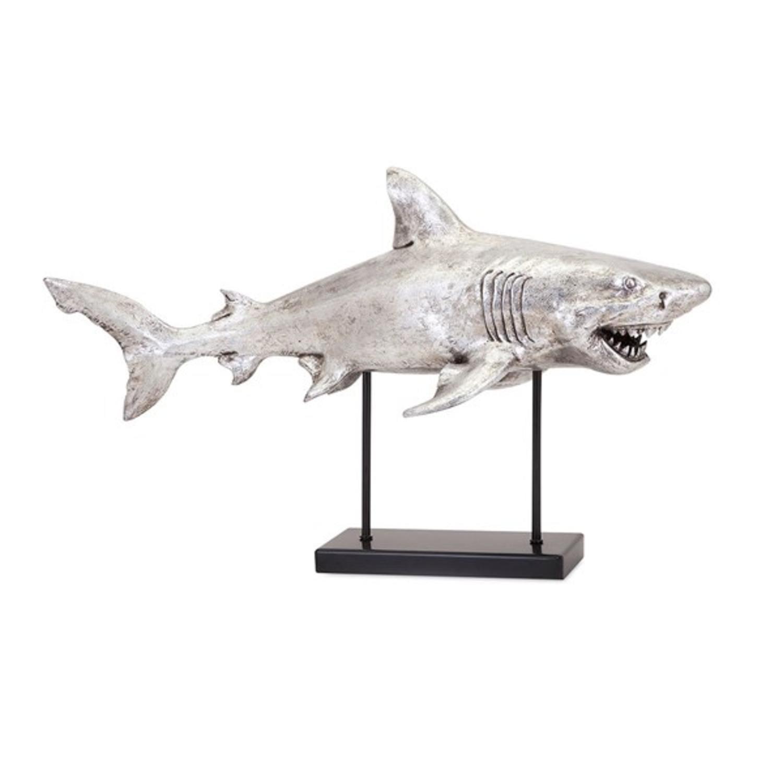 28.5� Ferocious Metallic Silver Shark-Alley Sculpture by IMAX