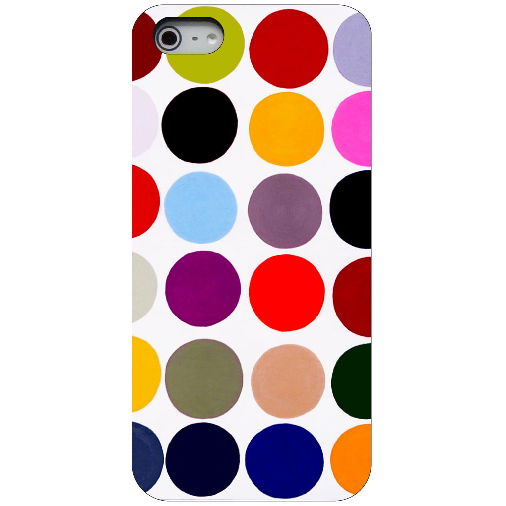 CUSTOM Black Hard Plastic Snap-On Case for Apple iPhone 5 / 5S / SE - Rainbow Polka Dots