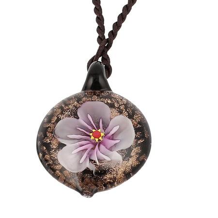 Unique Bargains Round Glass Pressed Flower Design Pendant Necklace Light Purple Black