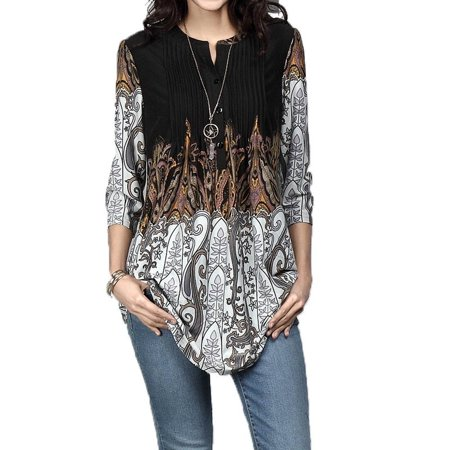 Women's Fashion Floral Print Tunic Top Boho Pleated Blouse Tops