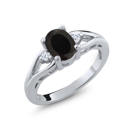 1.33 Ct Oval Black Onyx White Created Sapphire 925 Sterling Silver Ring