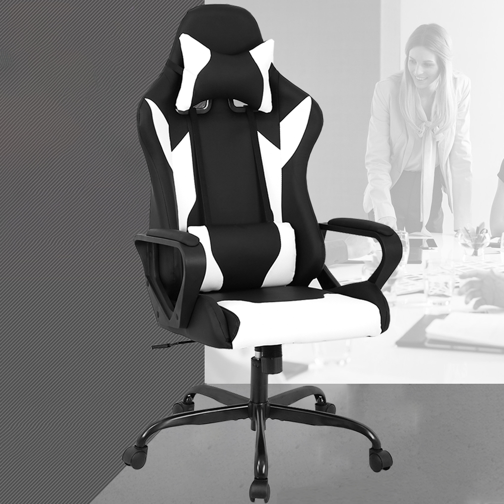 Racing Office Chair, High-Back PU Leather Gaming Chair Reclining Computer Desk Chair Ergonomic Executive Swivel Rolling Chair With Adjustable Arms Lumbar Support For Women, Men(White)