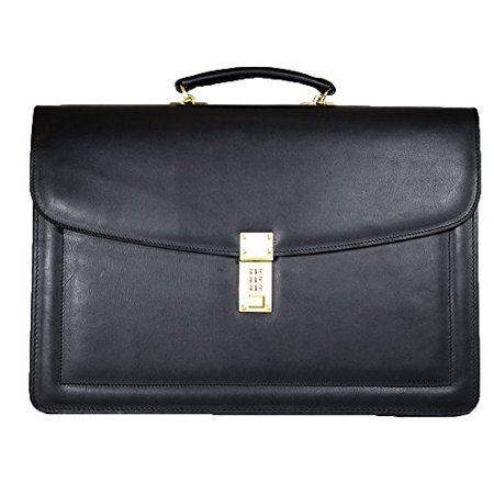 30348d4b93eb Belting Triple Gusset Leather Briefcase w/Combination Lock in Black