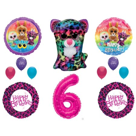Beanie Boos 6th Birthday Party Balloons Decoration TY Cheetah Animals - Party Ty