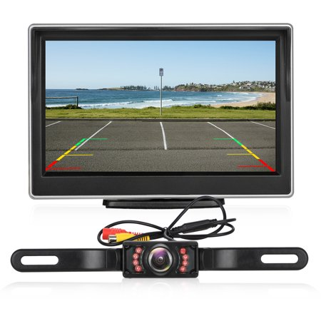 AUTO Digital Backup Camera Kit, Stable Signal Rear View Monitor and Reverse Camera Kit, Night Vision, IP 68 Waterproof with 5'' LCD Monitor 12V-24V for Trucks, RVs, Vans, Trailer,Camping