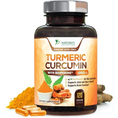 Nature's Nutrition Turmeric Curcumin with Bioperine Black Pepper Capsules, 1950mg, 120 (Best Curcumin Capsules With Bioperines)