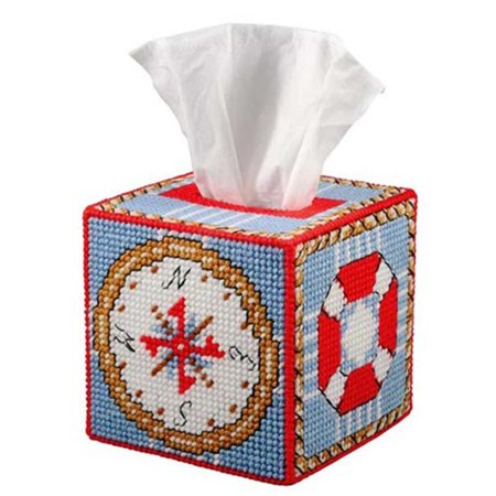 Craftways nautical tissue box cover plastic canvas kit for Tissue box cover craft