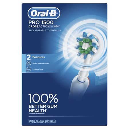 Oral-B Pro 1500 CrossAction Electric Power Rechargeable Battery Toothbrush, Powered by Braun (Braun Sonicare)