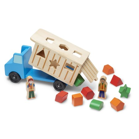 - Melissa & Doug Shape-Sorting Wooden Dump Truck Toy With 9 Colorful Shapes and 2 Play Figures