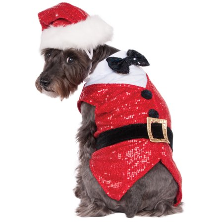 Doc Holiday Costumes (Sequin Santa Claus Pet Dog Cat Christmas Holiday Costume)