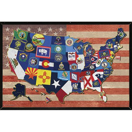 Us Map Picture Frame.Frame Usa State Flag Map Of The Us Poster Framed Graphic Art